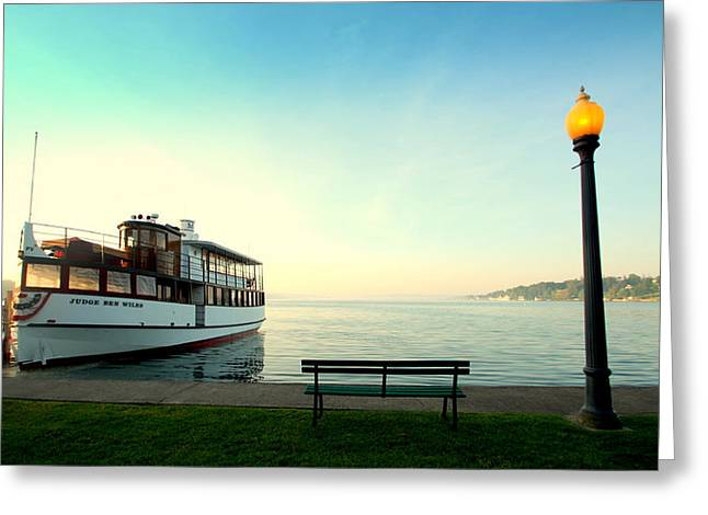 Fingerlakes Greeting Cards - Skaneateles Lake Dinner Cruise Greeting Card by Michael Carter