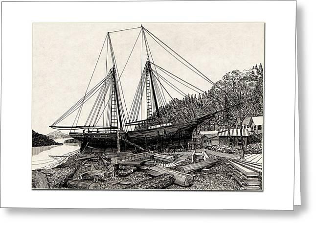 Pen And Ink Framed Prints Greeting Cards -  Gig Harbor 1891 Skansi Shipyard in Greeting Card by Jack Pumphrey