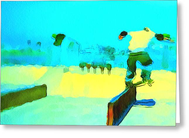 Stadium Design Digital Greeting Cards - Skate Board City 1 Greeting Card by Yury Malkov