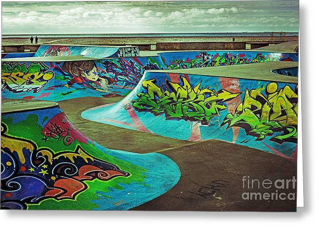 Roller Blades Greeting Cards - Skate Park 2 Greeting Card by Tony Priestley