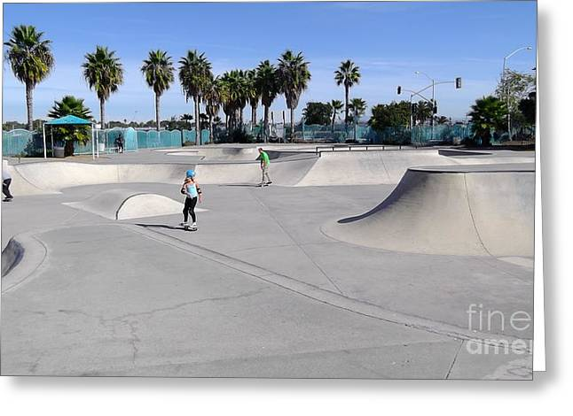 Fineartamerica Greeting Cards - Skate Park 2014 Greeting Card by Alan Thwaites