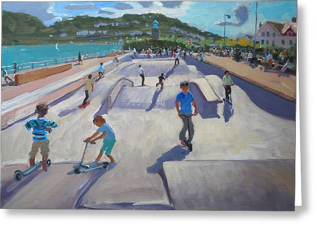 Skateboard Greeting Cards - Skateboaders  Teignmouth Greeting Card by Andrew Macara