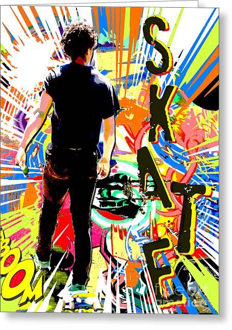 Skates Mixed Media Greeting Cards - Skateboard Graffiti Greeting Card by Adspice Studios
