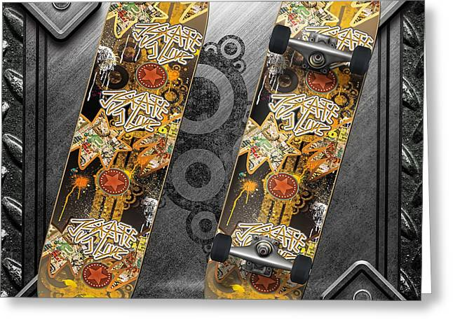 Skateboard Greeting Card by Mo T