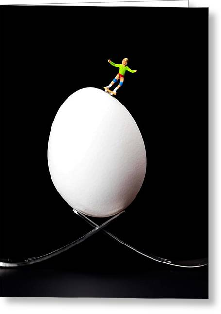 Roller Skates Digital Art Greeting Cards - Skateboard rolling on a egg Greeting Card by Paul Ge