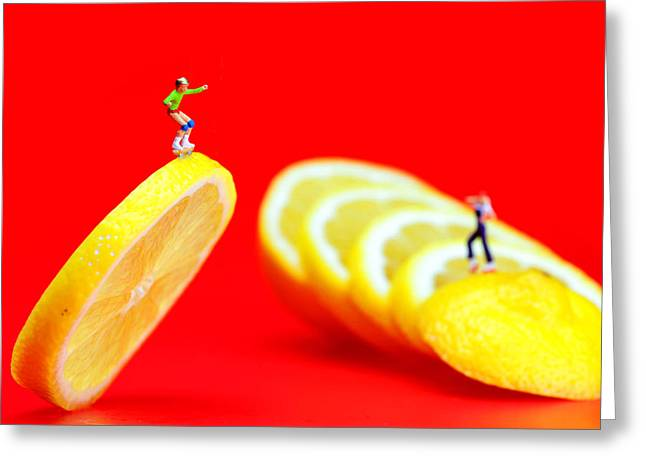 Roller Skates Digital Art Greeting Cards - Skateboard rolling on a floating lemon slice Greeting Card by Paul Ge