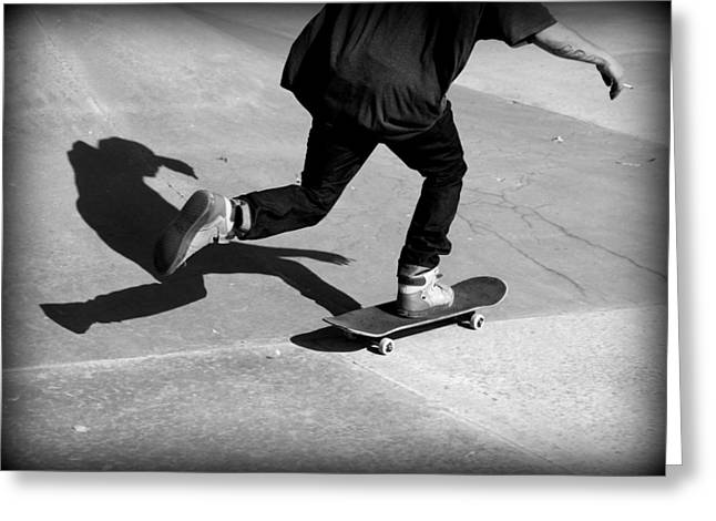 Teen Town Greeting Cards - Skateboard Shadow Greeting Card by Fiona Kennard