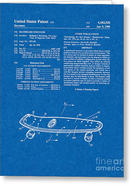Skateboard Print Greeting Cards - Skateboard Structure Patent - Blueprint Greeting Card by BJ Simpson