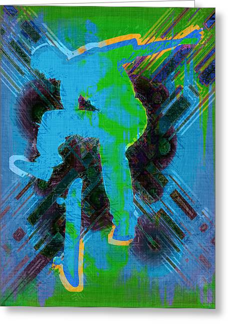 Skateboard Digital Greeting Cards - Skateboarder Abstract Greeting Card by David G Paul