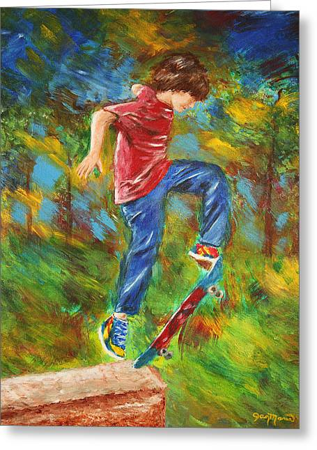 Blur Drawings Greeting Cards - Skateboarder by Jan Marvin Greeting Card by Jan Marvin