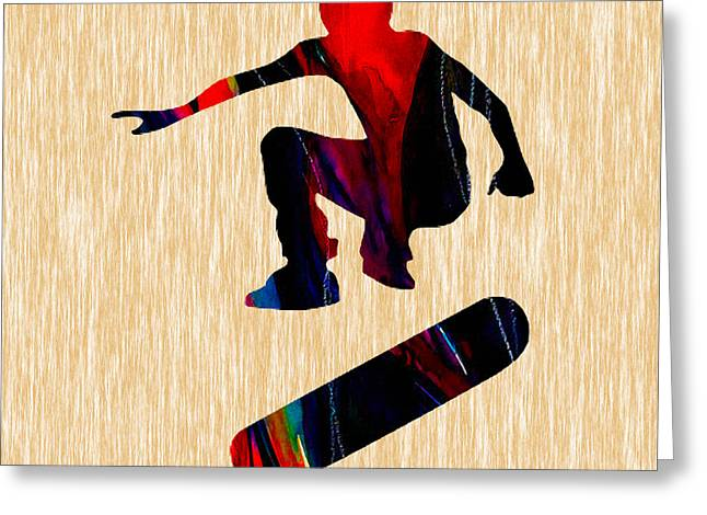 Skateboarding Greeting Cards - Skateboarder Painting Greeting Card by Marvin Blaine