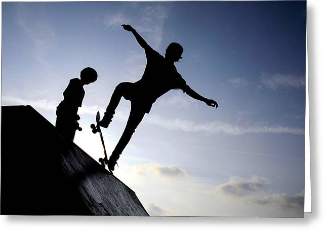 Skaters Greeting Cards - Skateboarders Greeting Card by Fabrizio Troiani