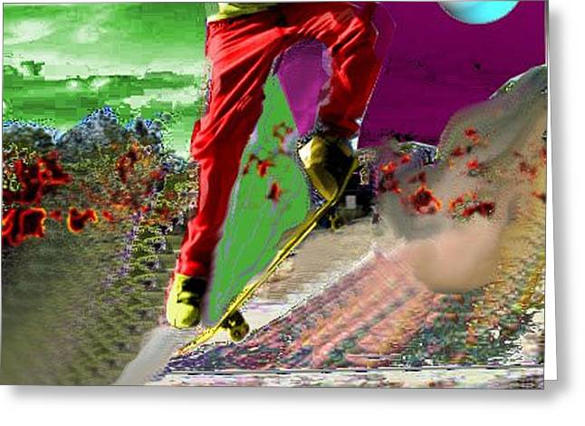 Skateboarding Digital Art Greeting Cards - Skateboarding to the Moon Greeting Card by Andrew Kaupe