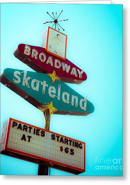 Retro Typography Greeting Cards - Skateland Greeting Card by Sonja Quintero