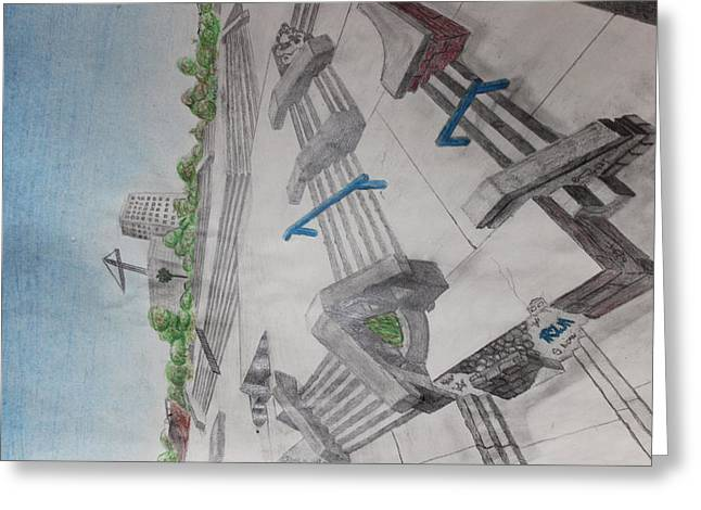 Ledge Drawings Greeting Cards - Skatepark  Greeting Card by Aidan Squirrell