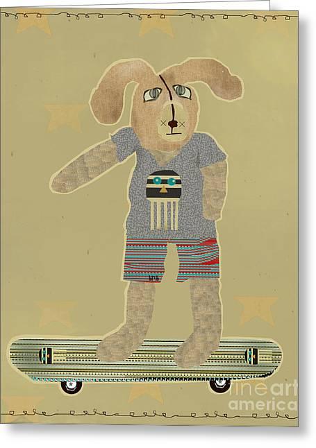 Skateboard Print Greeting Cards - Skater Bunny Greeting Card by Bri Buckley