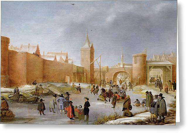 Sledge Photographs Greeting Cards - Skaters And Kolf Players Outside The City Walls Of Kampen Oil On Panel Greeting Card by Barent Avercamp
