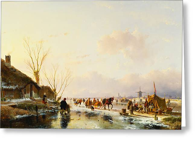 Skates Paintings Greeting Cards - Skaters by a Booth on a Frozen River Greeting Card by Andreas Schelfhout