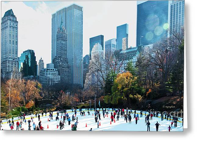 Wollman Rink Greeting Cards - Skaters Central Park Wollman Rink Greeting Card by Regina Geoghan