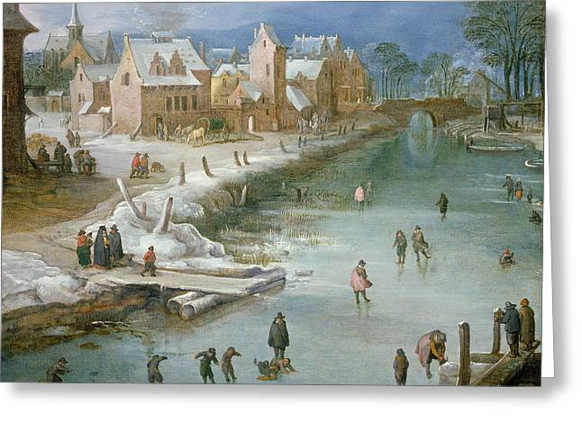 Skaters On A Frozen River Alongside Greeting Card by Joos or Josse de, The Younger Momper