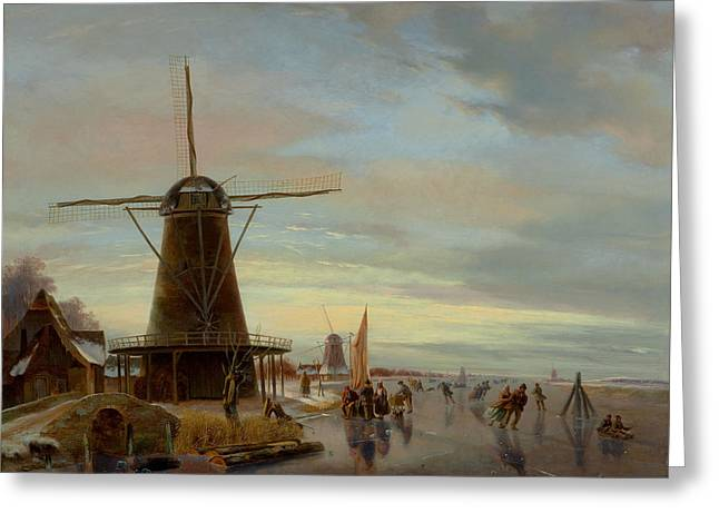 Skaters Greeting Cards - Skaters On A Frozen Waterway Greeting Card by Nicholas Jan Roosenboom