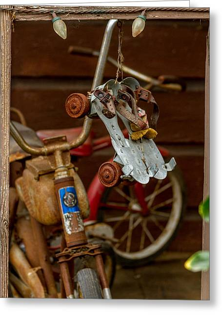 Antique Skates Greeting Cards - Skates And Bikes Greeting Card by Bill Gallagher