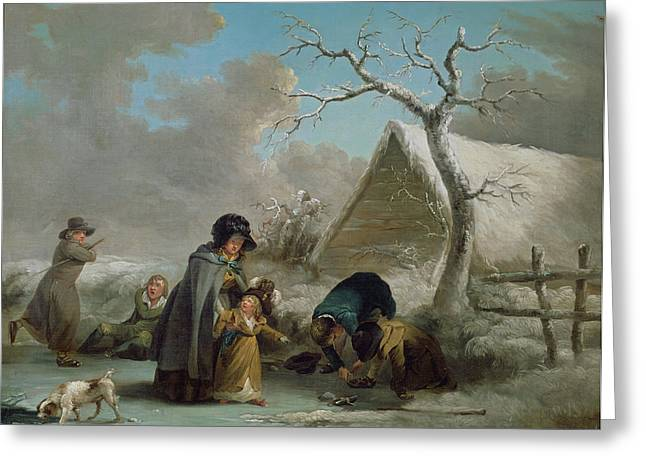 Ice-skating Greeting Cards - Skating, 1792 Oil On Canvas Greeting Card by George Morland