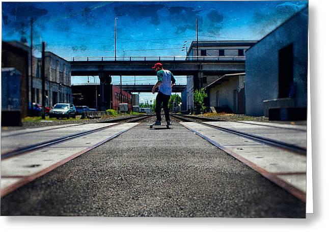 Skateboarding Digital Greeting Cards - Skating Across the Tracks Greeting Card by Brady Barrineau