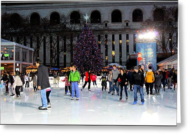 Bryant Greeting Cards - Skating at Bryant Park - New York City Greeting Card by  Photographic Art and Design by Dora Sofia Caputo
