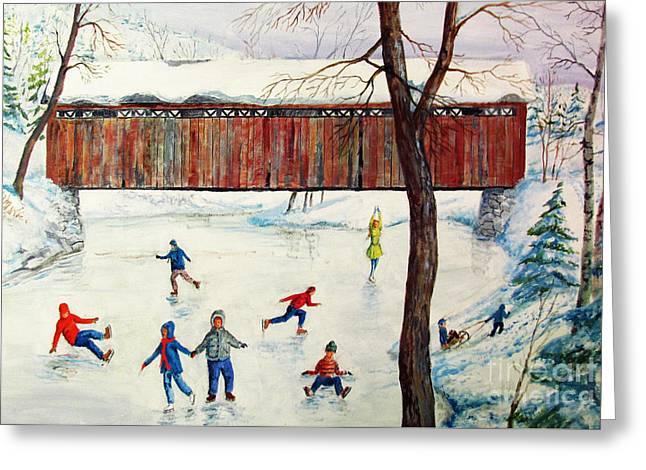 Skating At The Bridge Greeting Card by Philip Lee