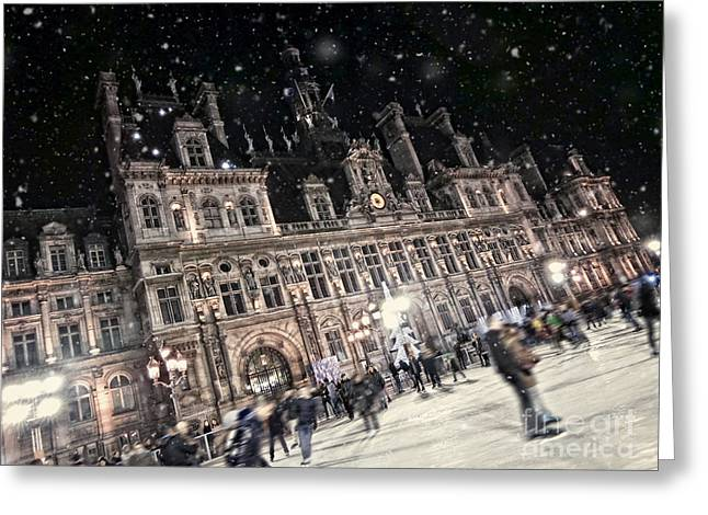 Ice-skating Greeting Cards - Skating at the hotel de ville Greeting Card by Delphimages Photo Creations