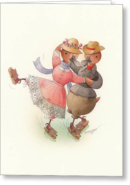 Ducks. Christmas Card. Greeting Card. Greeting Cards - Skating Ducks 11 Greeting Card by Kestutis Kasparavicius
