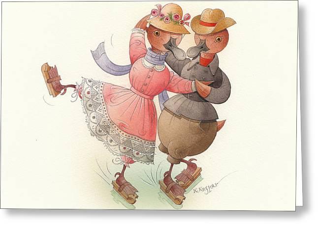 Skating Ducks 11 Greeting Card by Kestutis Kasparavicius