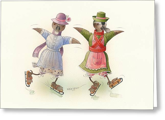 Skates Drawings Greeting Cards - Skating Ducks 15 Greeting Card by Kestutis Kasparavicius