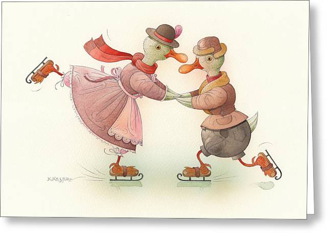 Ducks. Christmas Card. Greeting Card. Greeting Cards - Skating Ducks 3 Greeting Card by Kestutis Kasparavicius