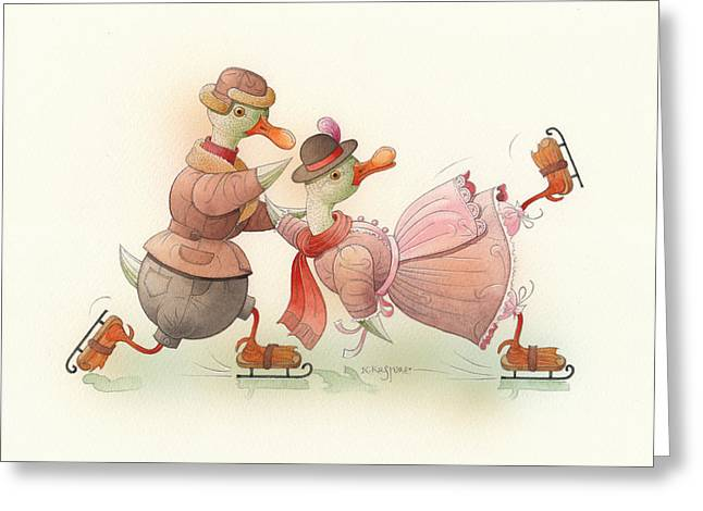 Ducks. Christmas Card. Greeting Card. Greeting Cards - Skating Ducks 4 Greeting Card by Kestutis Kasparavicius