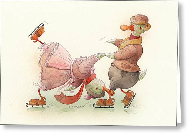 Ducks. Christmas Card. Greeting Card. Greeting Cards - Skating Ducks 5 Greeting Card by Kestutis Kasparavicius