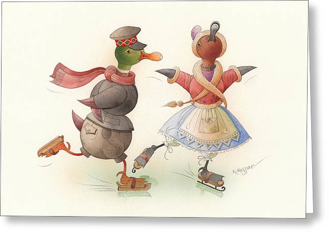 Ducks. Christmas Card. Greeting Card. Greeting Cards - Skating Ducks 7 Greeting Card by Kestutis Kasparavicius