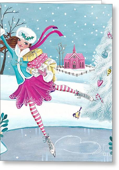 Skating Girl Greeting Card by Caroline Bonne-Muller