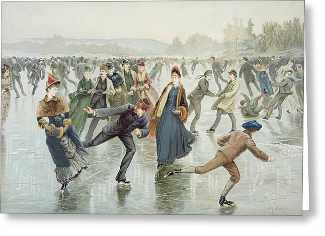 Skating Greeting Card by Harry Sandham