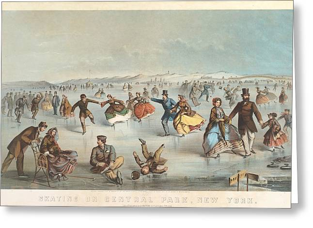 Winslow Homer Drawings Greeting Cards - Skating in Central Park. New York Greeting Card by Winslow Homer