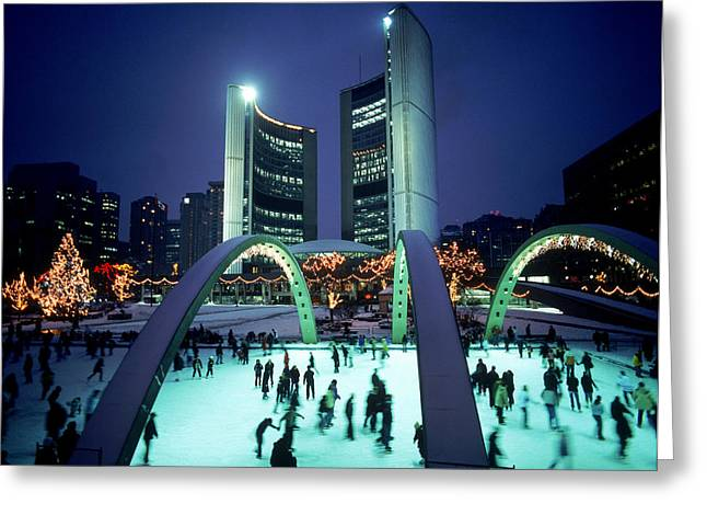 Skating In Nathan Phillips Square, City Greeting Card by Peter Mintz
