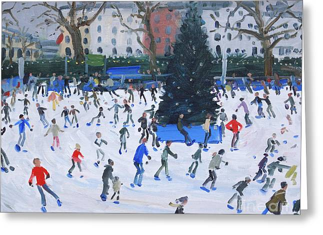 Circling Greeting Cards - Skating  Natural History Museum Greeting Card by Andrew Macara