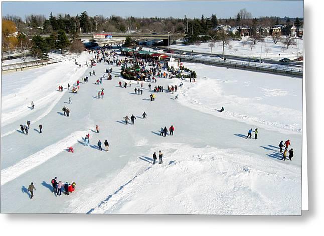 Ice-skating Greeting Cards - Skating on Dows Lake at Bronson Bridge Greeting Card by Rob Huntley