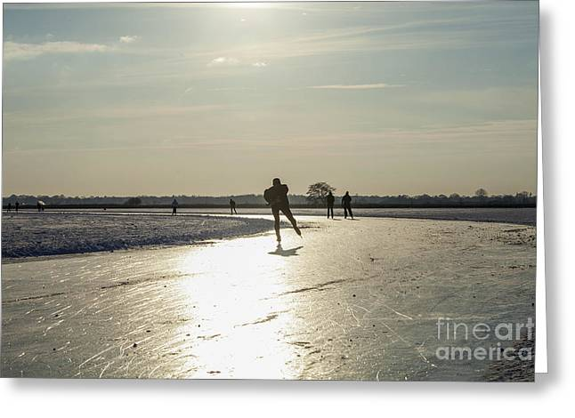 Ice-skating Greeting Cards - Skating on natural ice in the Netherlands Greeting Card by Patricia Hofmeester