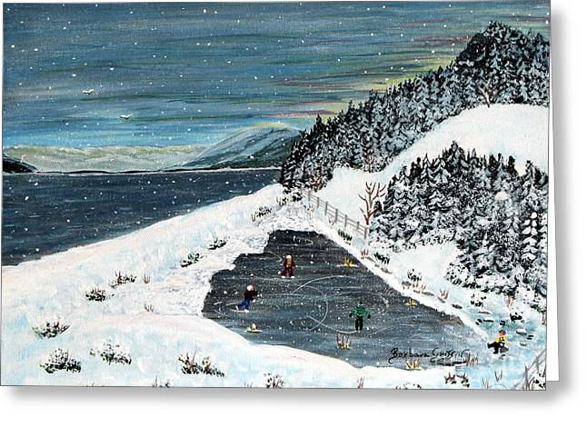Hockey Paintings Greeting Cards - Skating on Pond Garden Greeting Card by Barbara Griffin