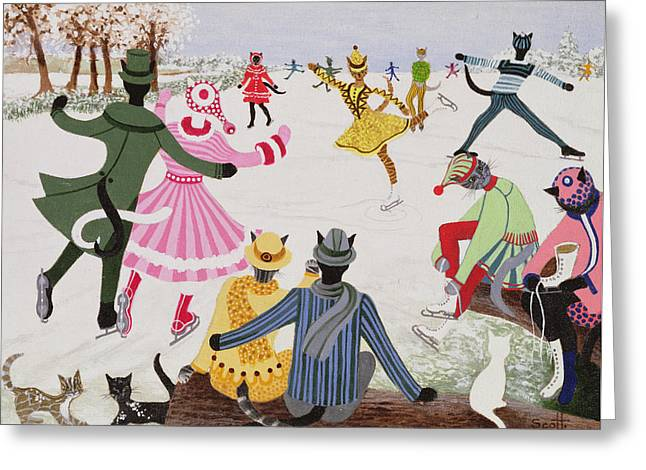 Skating On Thin Ice Greeting Card by Pat Scott