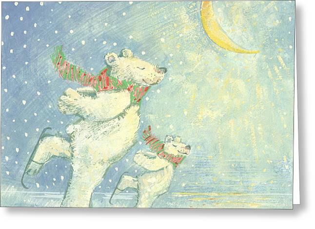 Moon Smiling Greeting Cards - Skating Polar Bears Gouache Greeting Card by David Cooke