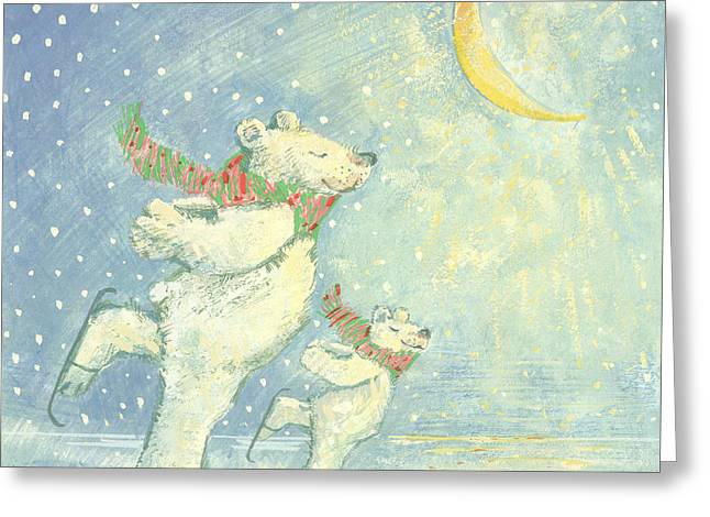 Skating Polar Bears  Greeting Card by David Cooke