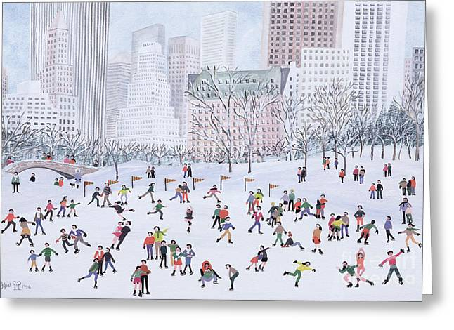 Blizzard New York Greeting Cards - Skating Rink Central Park New York Greeting Card by Judy Joel